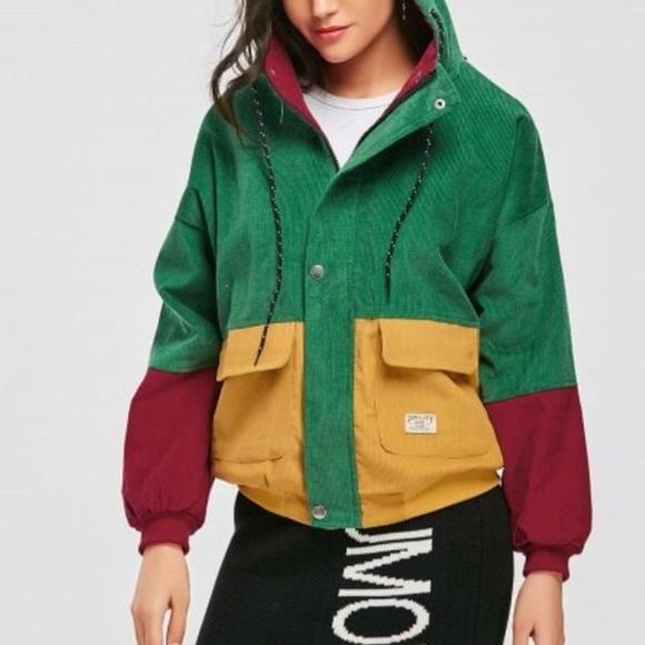Zaful Jackets Coats Corduroy Color Block Jacket Poshmark